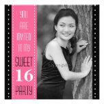 Sweet 16th Birthday Black PINK Large Photo Custom Invitations