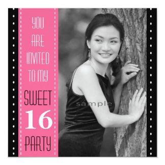 "Sweet 16th Birthday Black PINK Large Photo 5.25"" Square Invitation Card"