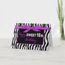 SWEET 16TH BIRTHDAY GREETING - ZEBRA - FUSCHIA BOW CARD