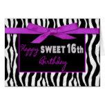 SWEET 16TH BIRTHDAY GREETING - ZEBRA - FUSCHIA BOW GREETING CARD