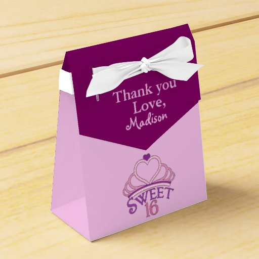 Personalized Party Favor Boxes Birthday : Sweet th birthday party thank you custom favor box zazzle
