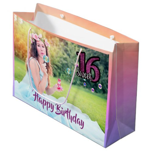 Sweet 16th birthday  photo large gift bag purple