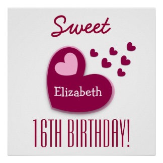 Sweet 16th Birthday Sprinkling of Hearts A01C1 Poster
