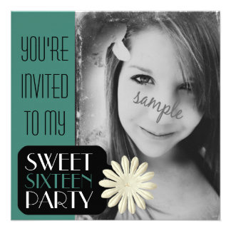 Sweet 16th Birthday with Large Photo Invite