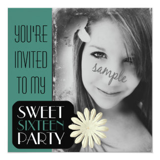 """Sweet 16th Birthday with Large Photo Invite 5.25"""" Square Invitation Card"""