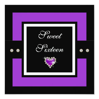 "Sweet 16th girls birthday 5.25"" square invitation card"