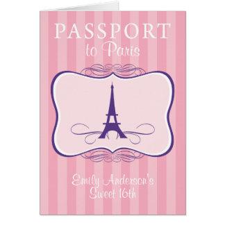Sweet 16th Passport Invitation Greeting Cards