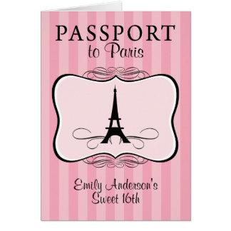 Sweet 16th Passport Invitation Cards