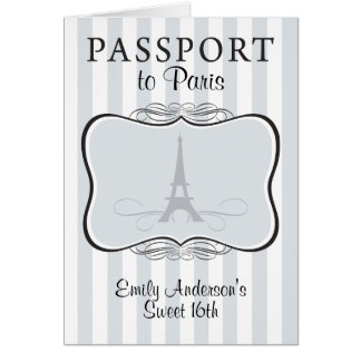 Sweet 16th Passport Invitation Stationery Note Card