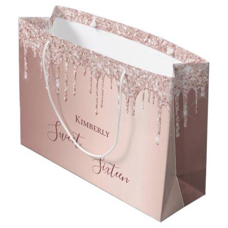 Sweet 16th sixteen 16 birthday rose gold glitter large gift bag