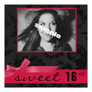 Sweet 16th Teen Birthday Party (Pink & Black) Personalized Invitations