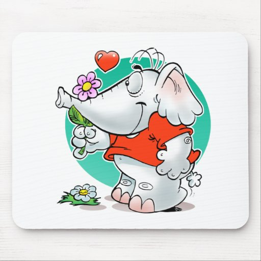 sweet amours elephant with flower mouse pads