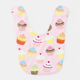 Sweet and Colorful Cupcake Pattern Baby Bib