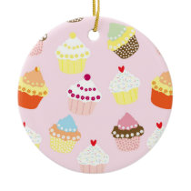 Sweet and Colorful Cupcake Pattern Ceramic Ornament