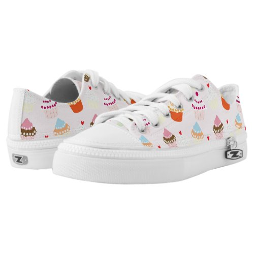 Sweet and Colorful Cupcake Pattern Low-Top Sneakers