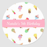 Sweet and Colorful Ice Cream Party Classic Round Sticker