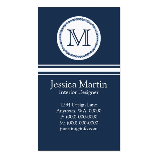 Sweet and Delicate Monogram Business Card, Blue