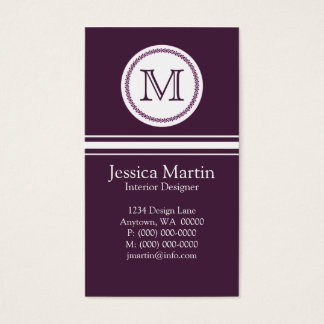 Sweet and Delicate Monogram Business Card, Purple Business Card