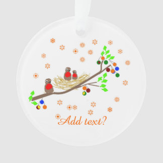 Sweet and pretty Robins in decorated nest Ornament