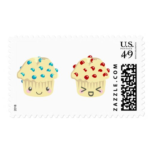 Sweet and Tart Muffin Pair Postage Stamps