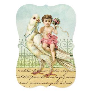 Sweet Angel Cherub in Pink on Vintage White Dove 5x7 Paper Invitation Card