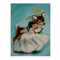 Sweet Angel Girl hugging adorable deer. Postcard