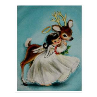 Sweet Angel Girl hugging adorable deer. Postcard
