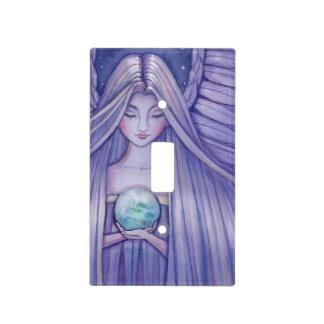 Sweet Angel Holding Earth Fantasy Art Light Switch Cover