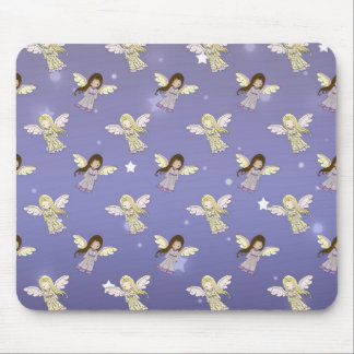 Sweet Angels in the Stars Pattern Mouse Pad