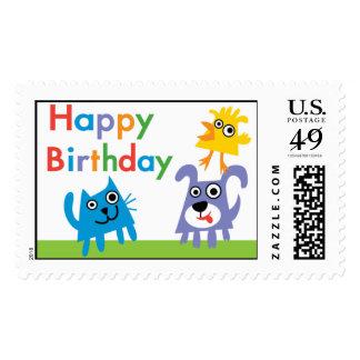 Sweet animals cartoon postage stamp