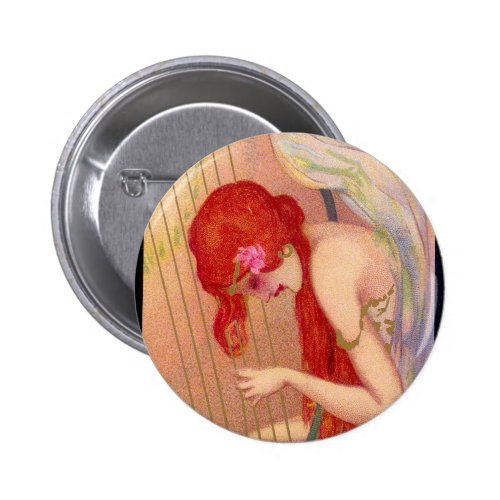 Sweet Antique Redheaded Angel on the Harp Round Button