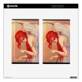 Sweet Antique Redheaded Angel on the Harp Decals For Kindle Fire