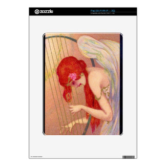 Sweet Antique Redheaded Angel on the Harp Skins For The iPad