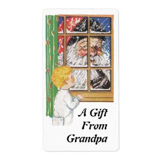 Sweet Antique Santa &Child Gift From Grandpa Label