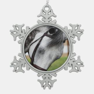 Sweet Appaloosa Horse Snowflake Pewter Christmas Ornament