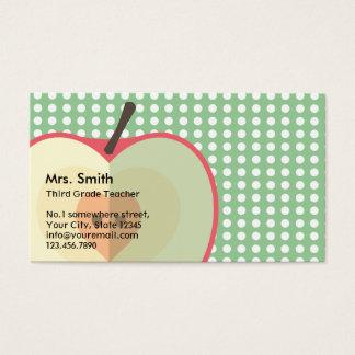 Sweet Apple Polka Dots Teacher Business Card