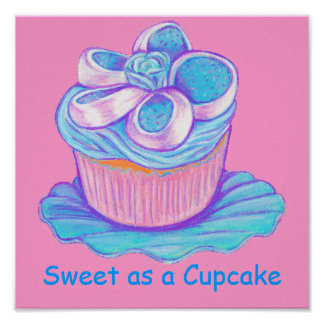 Sweet as a Cupcake ~ Blue Cupcake Print