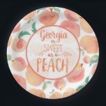 """Sweet as a Peach Birthday Party Plates<br><div class=""""desc"""">Sweet plates for a sweet as a peach little girl. These plates are PERFECT for a first birthday or any age to celebrate your sweet as a peach little one.</div>"""