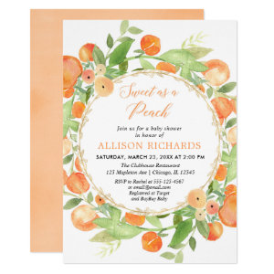Sweet as a peach baby shower Invitations for girl