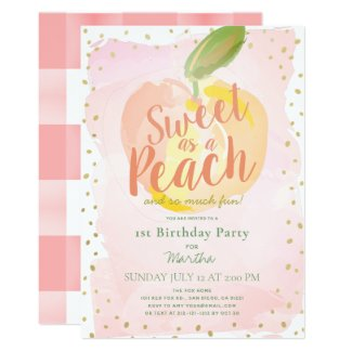 Sweet as a Peach Pink Girl 1st Birthday Invitation