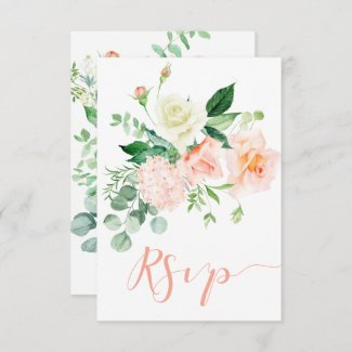 Sweet as a Peach Watercolor Peach and White Roses RSVP Card