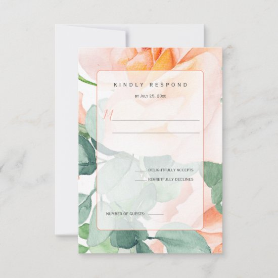 Sweet as a Peach Watercolor Roses RSVP Card