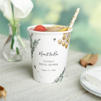 Sweet as can Bee Eucalyptus Bridal Shower Paper Cups