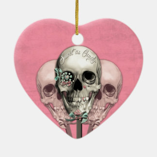 Sweet as Candy Lollipop skulls in pink. Ceramic Ornament