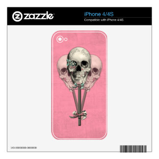 Sweet as Candy Lollipop skulls in pink. Decals For The iPhone 4S