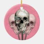 Sweet as Candy Lollipop skulls in pink. Double-Sided Ceramic Round Christmas Ornament