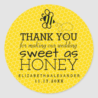 Sweet As Honey Wedding Guest Favor Thank You Classic Round Sticker