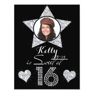 Sweet At 16 Sparkling Diamonds Add Photo Birthday Card
