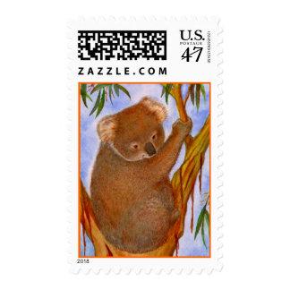 Sweet Aussie Koala Bear Up A Tree ~ POSTAGE STAMP