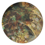 Sweet Autumn Abstract Fractal Art Party Plate